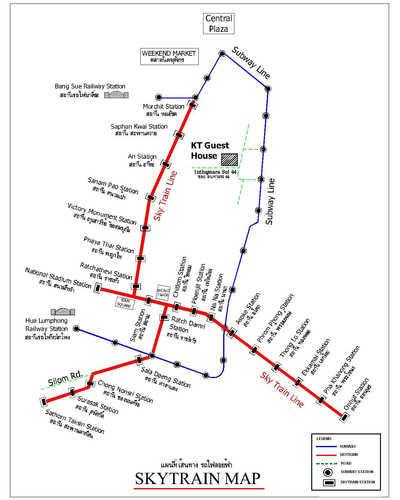 Map of Bangkok Skytrain